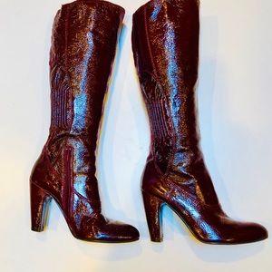 APEPAZZA women's Boots Sz 7.5 M Burgundy Patent
